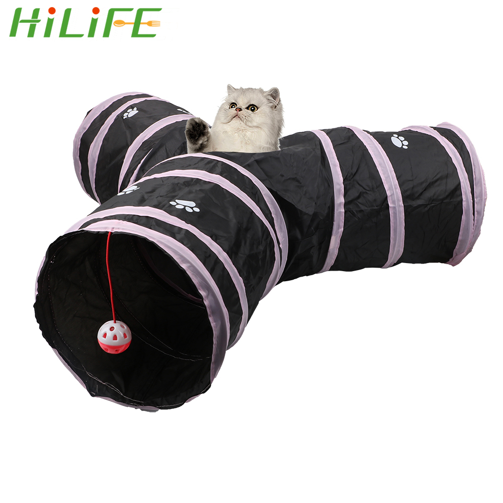 HILIFE Funny Pet Cat Tunnel Foldable Storage Tunnel Tubes 3 Holes 2 Colors Pet Supplies Kitten Toys Play Tubes Balls image