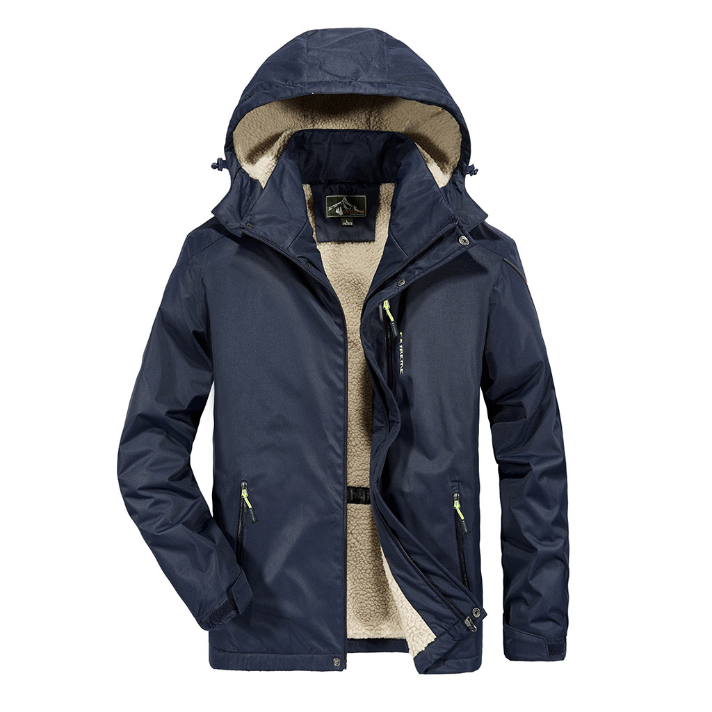 Men's Casual Autumn Winter Long Sleeve Hooded Zipper Fleece Outdoor Windbreaker Jacket Mens Waterproof Breathable Hooded 8.28
