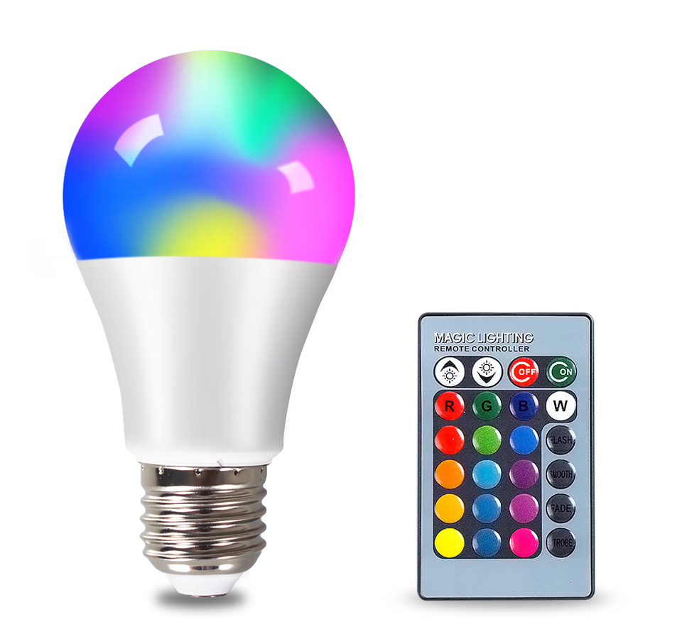 FOXGBF E27 RGBW LED Bulb Lights 4W 10W 15W 110V 220V Lampada Changeable Colorful RGB LED Lamp With IR Remote Control  (1)