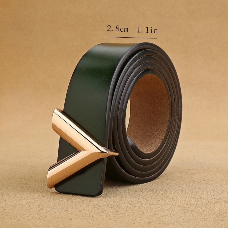 New Ladies Belt V Belt 2.8 Cm Wild Two Layer Cowhide Buckle Leather High Quality Fashion Classic Belt Gift