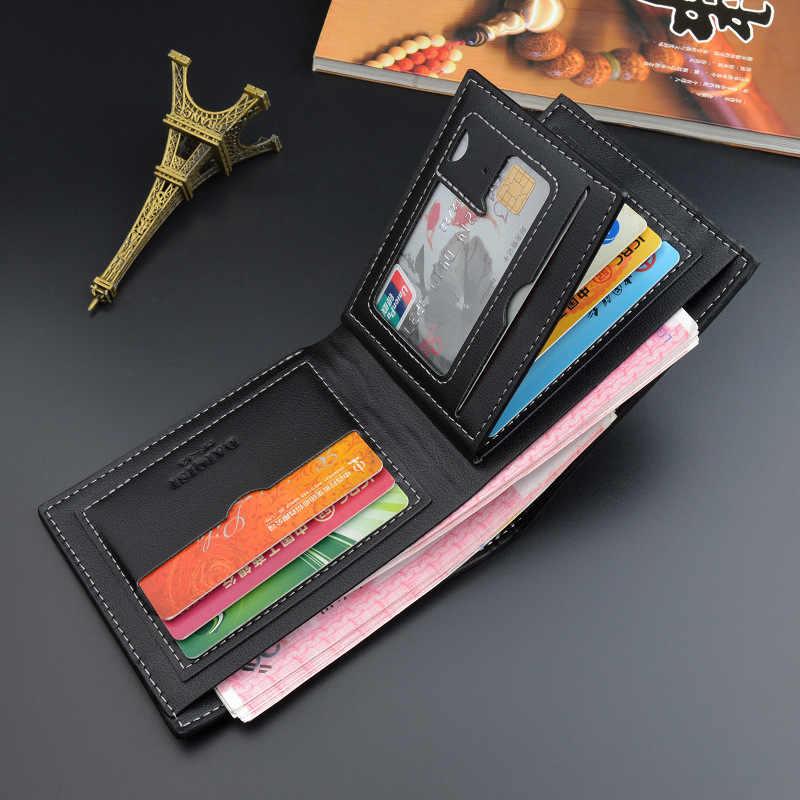 2019 yeni erkek cüzdan kısa tarzı genç ekose çoklu kart ince yumuşak cüzdan değişim cüzdan erkek mekanizması PU malzeme para klip