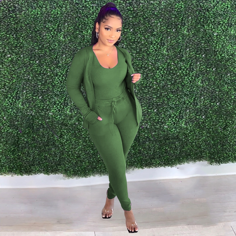 hirigin Fall 2020 Tracksuit Three Piece Set Long Sleeve Coat + Tank Top + Sweatpants Outfits Matching Sets for Women Clothes