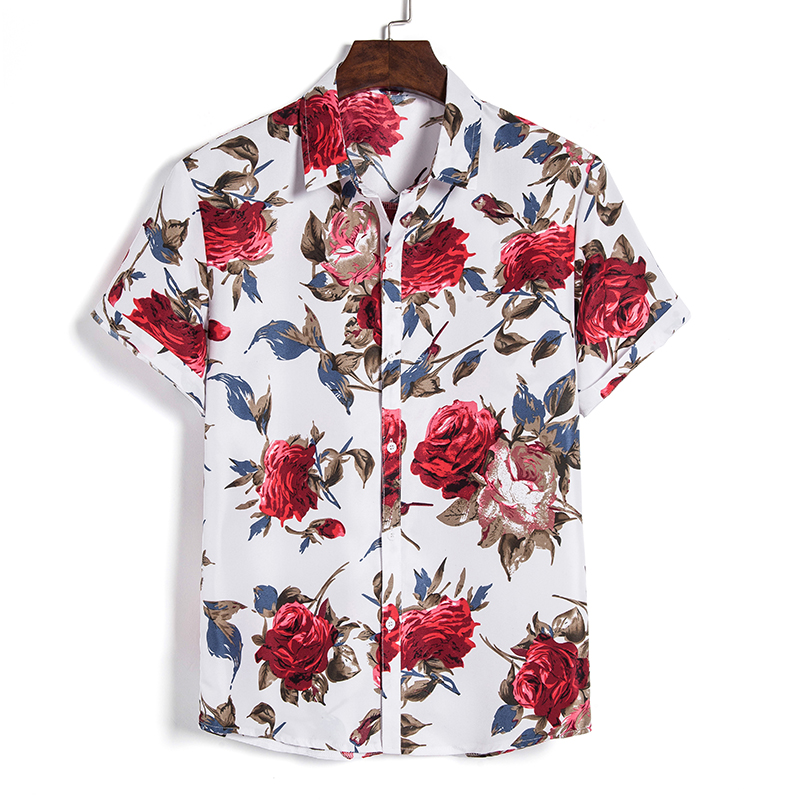 2020 Men's Slim fit Flower Printed Shirts Male Short Sleeve Floral Shirt Men Basic Tops Casual Plus Size Shirts