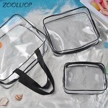 Travel PVC Cosmetic Bags Women Transparent Clear Zipper Makeup Bags Organizer Bath Wash Make Up Tote Handbags Case