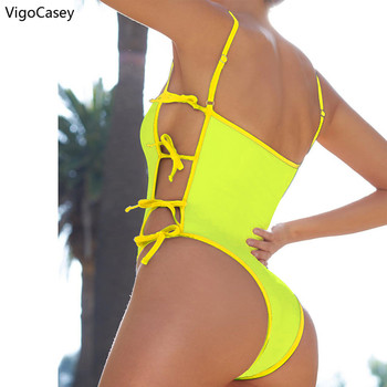 VigoCasey Hollowed Bandeau Swimwear Women 2020 Sexy One Piece Swimsuit Female Tied Bathing Suit High Waist Monokini Swim Wear 2