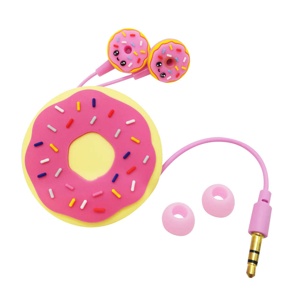 Lucu Donut Kabel Earphone Anak Musik In-Ear Erabuds Earphone 3.5 Mm Jack Universal untuk iPhone Xiaomi Samsung MP3 4