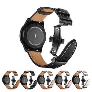 Image 2 - イタリア革バンドのためのギアs3 銀河時計 46 ミリメートル 22 ミリメートル時計バンドブレスレットhuawei社腕時計gtストラップ蝶バックル 46