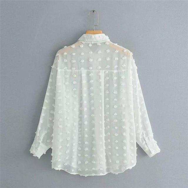 Womens Tops Blouses Elegant Long Sleeve See-through Sheer Mesh Polka Dot Loose OL Shirt Ladies Chiffon Blouse Summer blusa 6