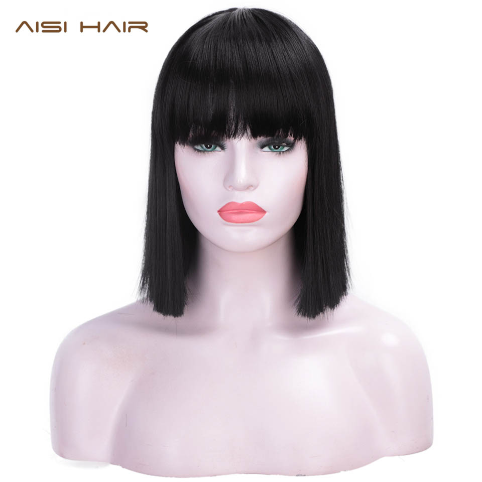 Synthetic Wigs Bangs Fiber-Hair Hair-12''-Short Black Straight Women 4-Colors Heat-Resistant