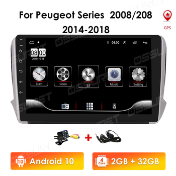 Autoradio 2GB+32GB 2din Android 10 HeadUnit For Peugeot series 2008 208 2014-2018 Multimedia Stereo Car GPS Navigation Video RDS image