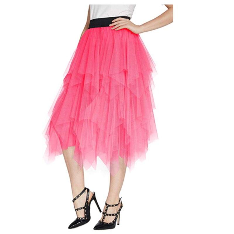 甘い不規則な重複チュールスカート女性多層 Pop 透明メッシュプリーツスカートワインレッド膝丈スカートペチコート