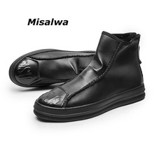 Misalwa Selling Mens Leather Boots Zipper Cool Street Style Ankle High Top Brand Casual Sneakers Shoes Drop Shipping