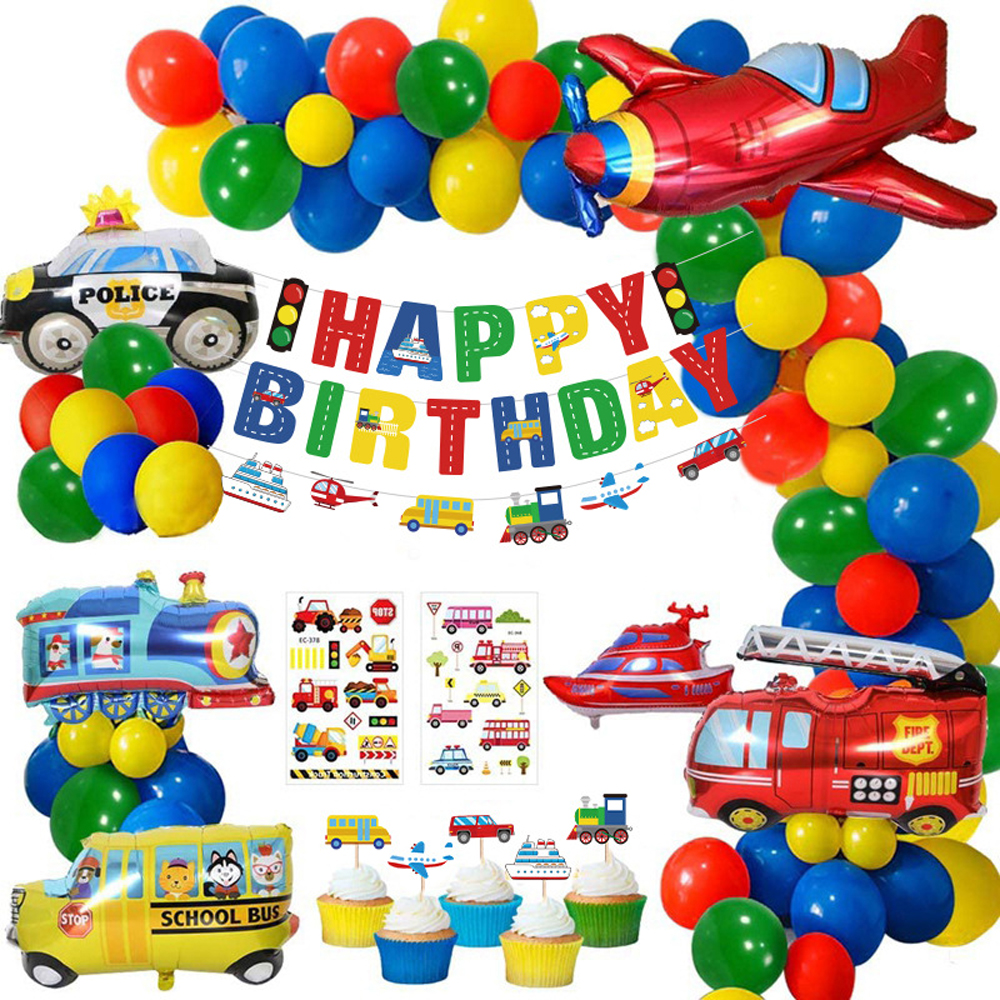 Boys Birthday Party Decoration , Happy Birthday Banner Transport Foil Balloons Plane Train PoliceCar School Bus Yacht Fire Truck