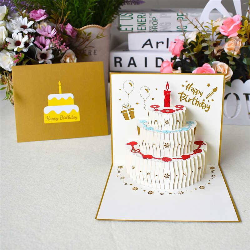 3D Pop UP cartes carte d'anniversaire pour fille enfants femme mari anniversaire gâteau carte de voeux cartes postales cadeaux carte avec enveloppe autocollants