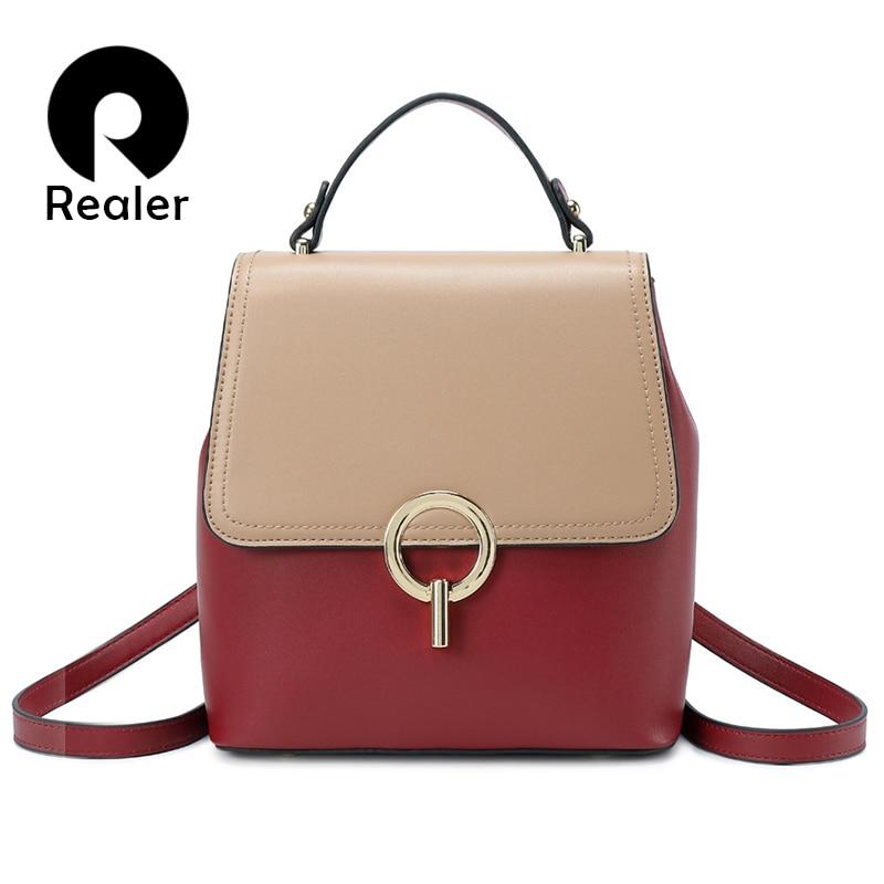 REALER Women Backpack Small Spilt Leather Backpack For Women School Backpack For Teenager Girls Panelled Shoulder Bag