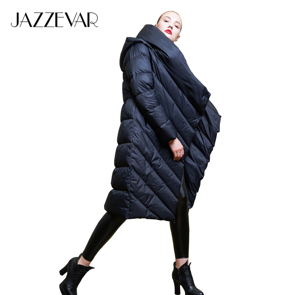 JAZZEVAR 2019 Winter new Designer Brand women long hooded down jacket casual female worm duvet down coat outerwear z18003