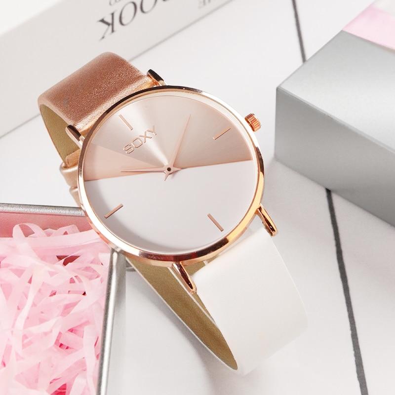 top brand women's watch leather rose gold dress female clock luxury brand design women watches simple fashion ladies watch CLOVER JEWELLERY