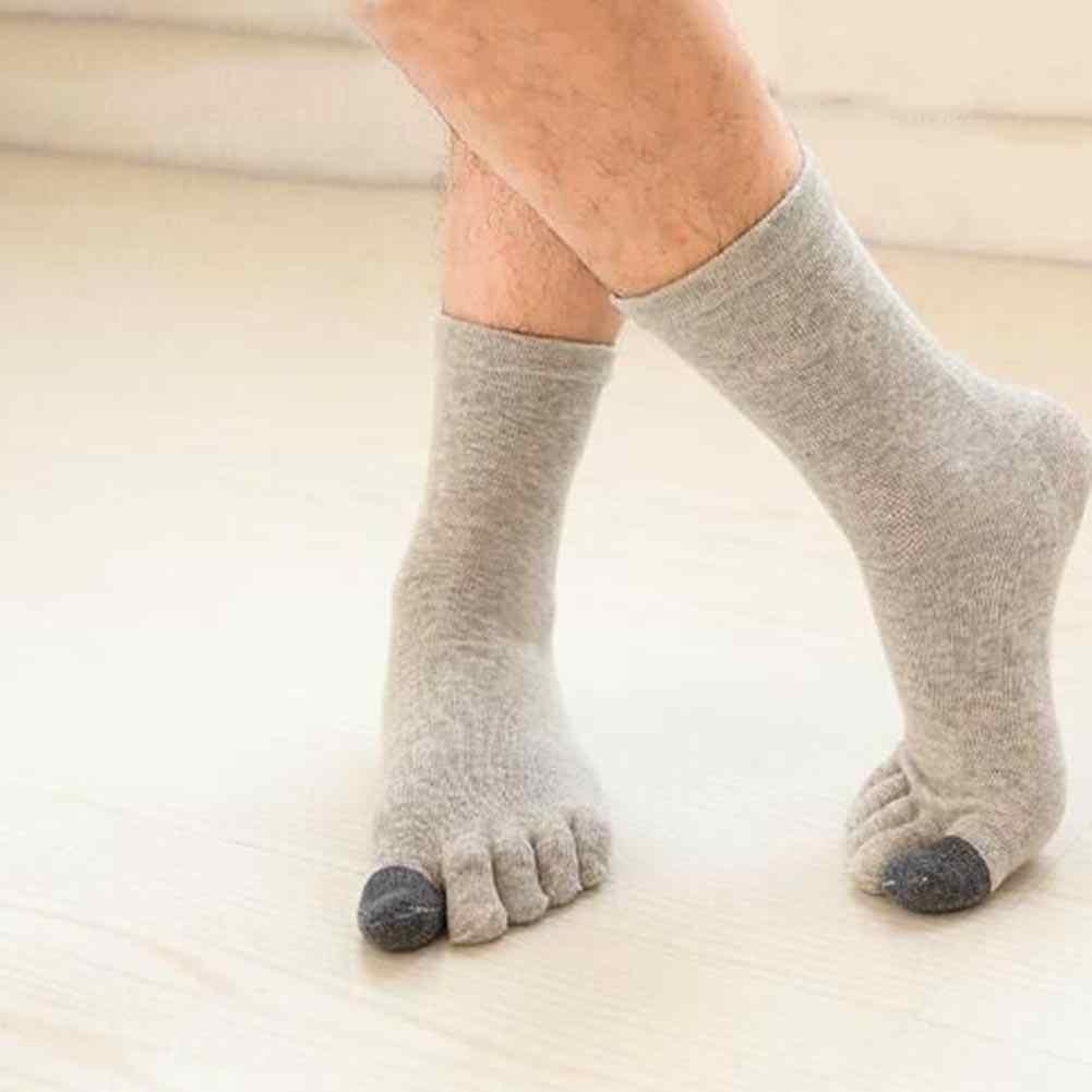 Men Five Toe Socks Cotton Solid Sports Trainer Running Finger Socks Breathable