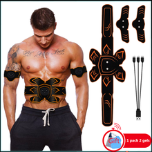 Man Woman EMS Muscle Stimulator Belt Abdominal Training New Style Abs Stimulator Smart USB Abdomen Fitness Gym Trainer At Home