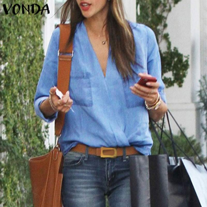 Tunic Women V Neck Shirts Vintage Blouse VONDA 2020 Summer Bohemian Tops Female Casual Loose Long Sleeve Blouse Plus Size