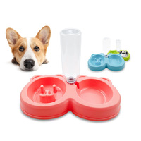 Pet Dog Tableware Double Bowl with Water Bottle Bear Head Dog Bowl Stainless Steel Bowl Drink Fountain