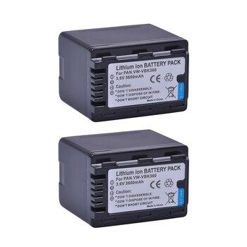 2pcs VW-VBK360 VBK360 Battery for Panasonic HC-V10, HC-V100, HC-V100M, HC-V500, HC-V500M, HC-V700, HC-V700M, HDC-HS60, HDC-HS80