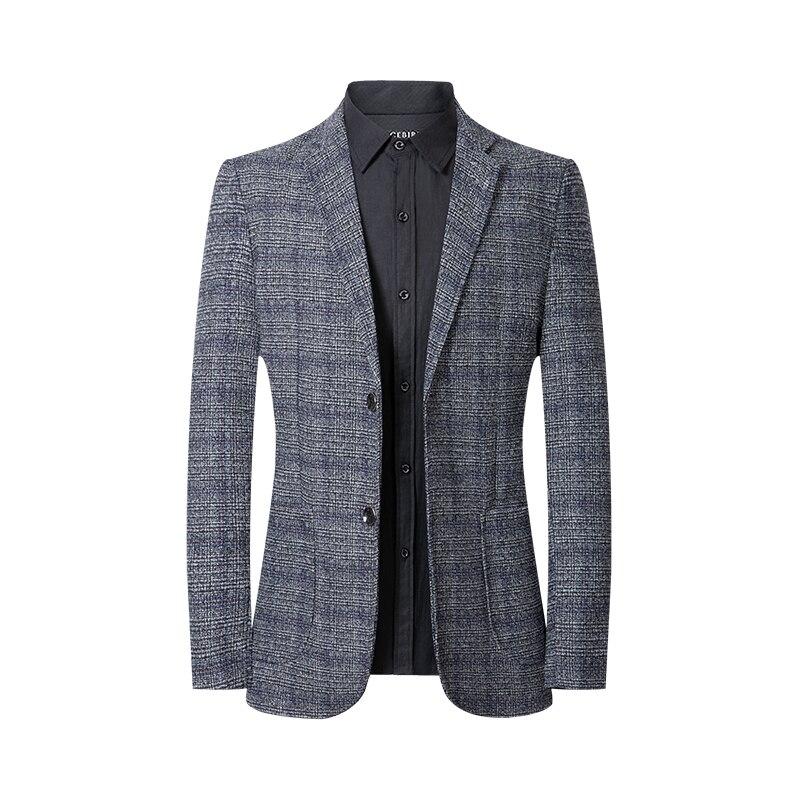 Сезон весна-осень; стиль мужчины бутик пиджаки высокого качества для бизнес на каждый день Slim плед мужской Костюмный пиджак 2019
