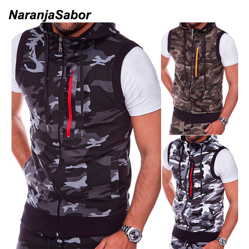NaranjaSabor 2020 New Mens Camouflage Vest Spring Summer Military Hooded Sleeveless Sweatshirt Male Fashion Brand Clothing N638