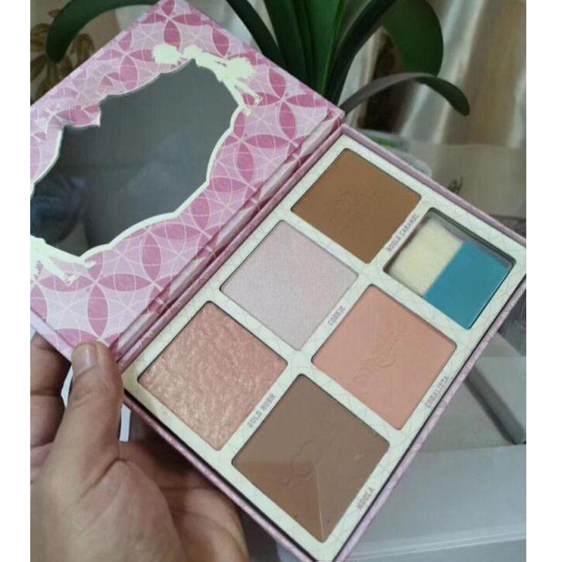 Face Cheek PINK Blush Highlighters Palette BRONZE Eyeshadow Highlight Contour 5 Color Blush Eyeshadow With Brush