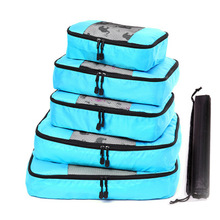 6PCs/Set Waterproof Nylon Travel Suitcase Storage Bags Visible Clothing Shoe Clothes Baggage Bag Luggage Organizer with Zipper