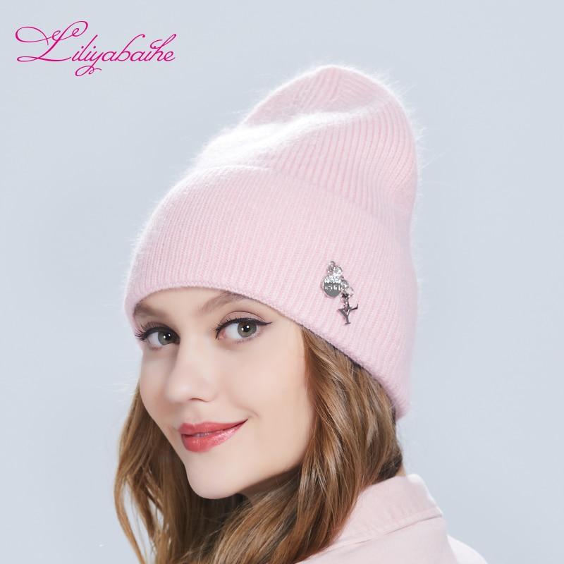 Liliyabaihe Autumn  Winter Women Hat Angora Knitted Wool  Skullies Beanie Exquisite Decoration Warm Hat
