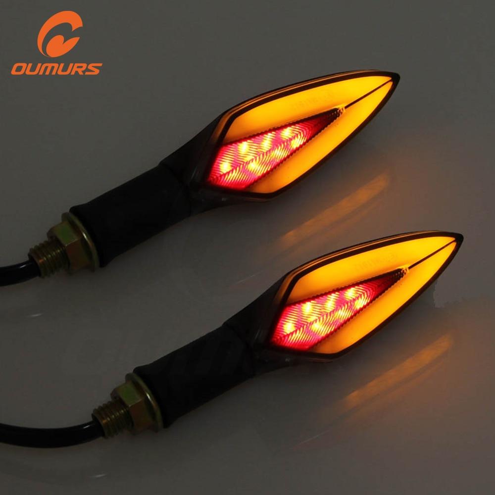 OUMURS Motorcycle Bike LED Amber+Red Turn Signal light Driving Indicator Lamp Universal 10mm 12v For Honda Yamaha Suzuki Harley|  - title=