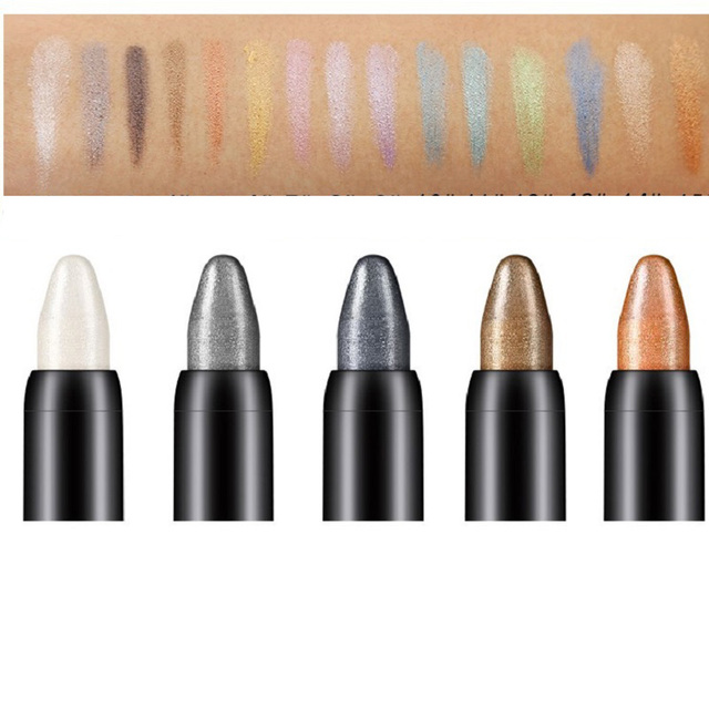 15 Color Highlighter Eyeshadow Pencil Waterproof Glitter Matte Nude Eye Shadow Makeup Pigment Cosmetics White Eye Liner Pen 2