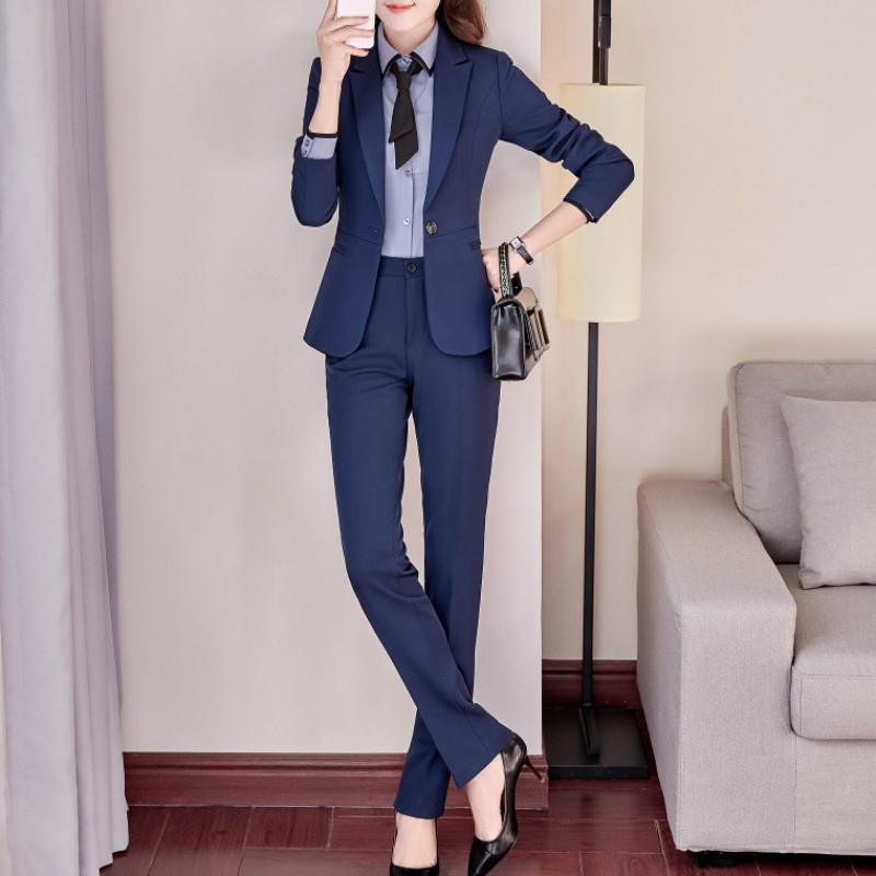 High Quality Winter New Women's Suit Temperament Casual Long-sleeved Slim Large Size Blue Blazer Pants Suit Office Suit Female