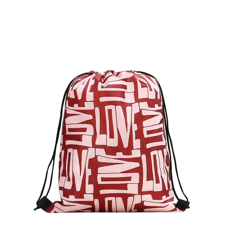 Drawstring Backpack Fashion Women 3D Printing Travel Softback Men Casual Bags Unisex Women's Shoulder Drawstring Love Knapsack