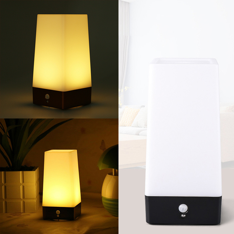 2019 Wireless PIR Sensor Living Room Table Light Bedside Lamp Battery Powered Table Lamp Warm White Sensor New LED Night Light