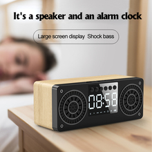 цена на Wireless Portable Wooden Bluetooth Speaker Alarm Clock 3D Stereo Portable Stereo Subwoofer HiFi Speaker Support TF/FM Radio/AUX