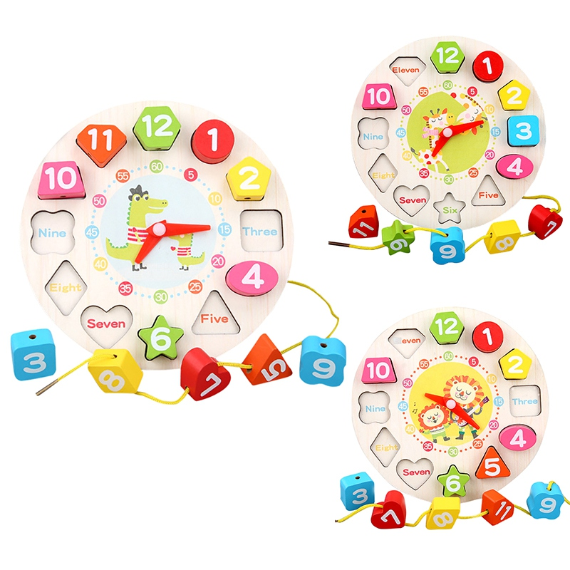 Preschool Baby Montessori Toys Early Education Teaching Aids Digital Clock Math Toys Geometric Shape Matching Clock Wooden Toy