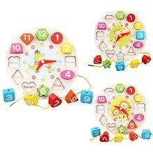 Pré-escolar bebê montessori brinquedos educação precoce auxiliares de ensino relógio digital matemática brinquedos forma geométrica combinando relógio de madeira brinquedo