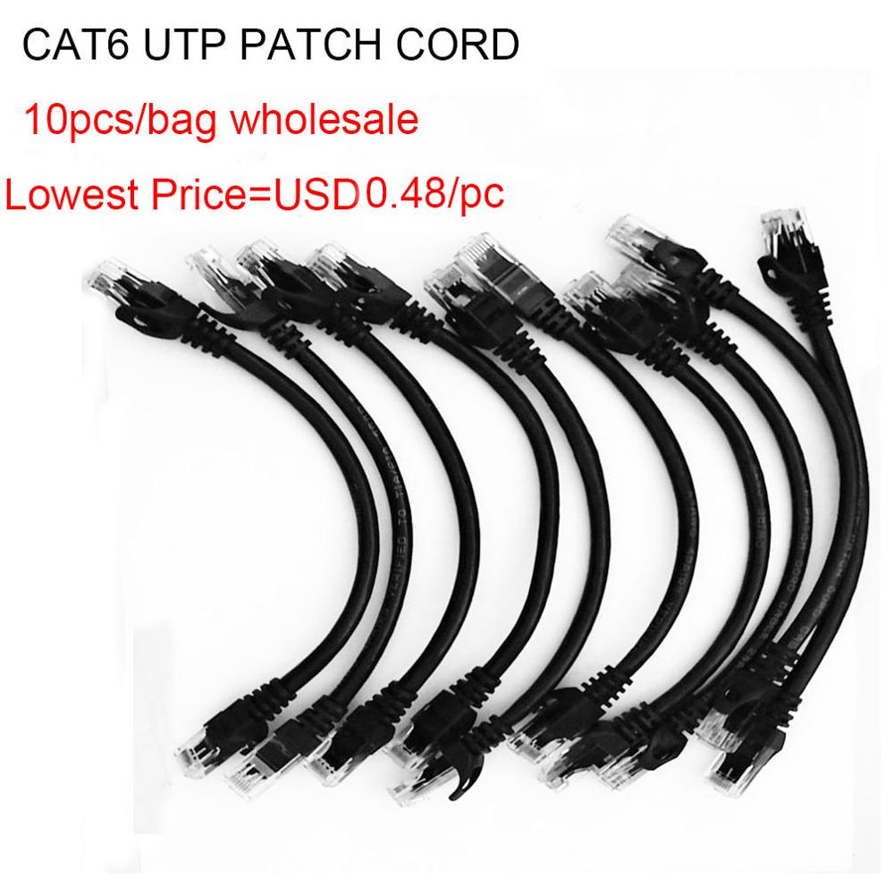 10 LOT 1FT Gray Cat6 Network LAN Copper Cable Ethernet patch Rj45 pack 1 FT