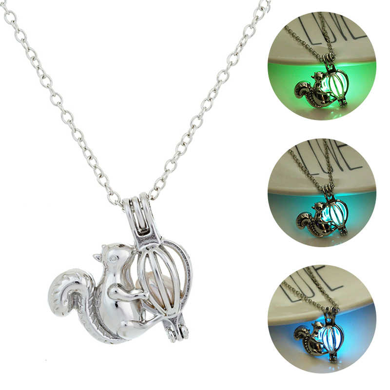 Glowing Squirrel Pendant Necklaces Women Luminous Stone Sliver Plated Necklace Glow in the Dark Necklaces Jewellery