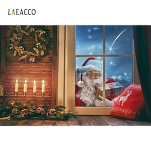 Laeacco Christmas Window Santa Claus Baby Home Decor Photography Backgrounds Customized Photographic Backdrops For Photo Studio
