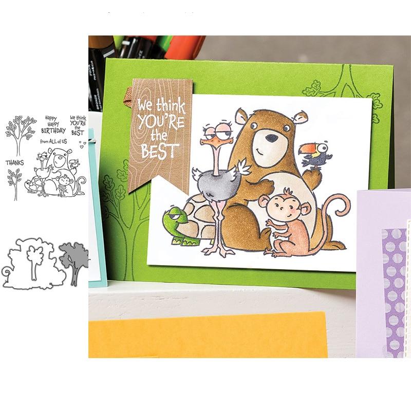 ЙК резки металла умирает и снимите резиновый штамп дерево животных письмо скрапбукинг ремесло трафарет DIY карточки сделать лист плесень Плесень модель