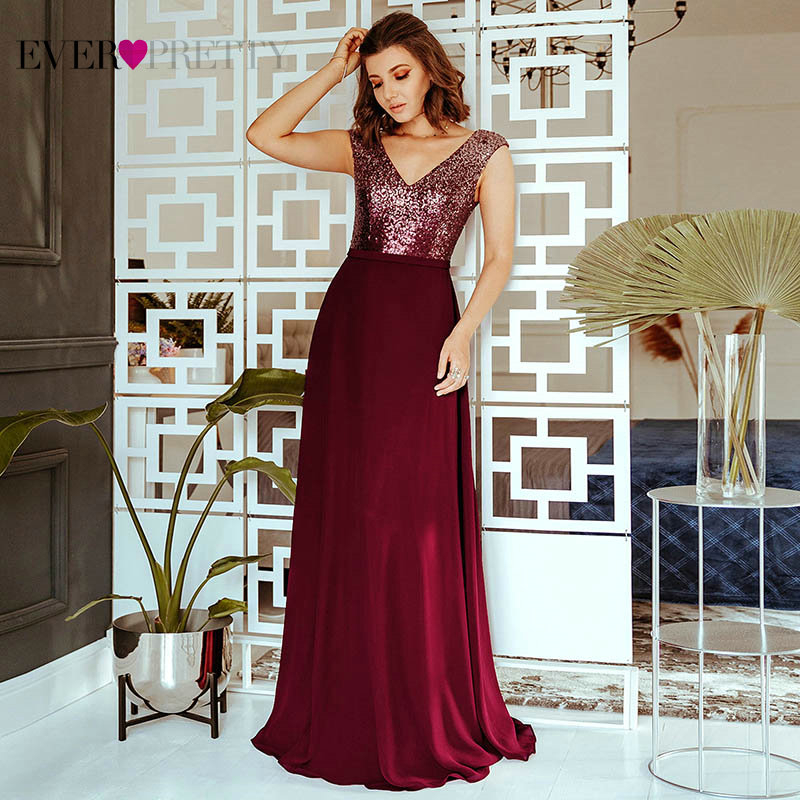 Sparkle Evening Dresses Long Ever Pretty EP00962BD Sequined A-Line V-Neck Sleeveless Burgundy Formal Dresses Robe De Soiree 2020