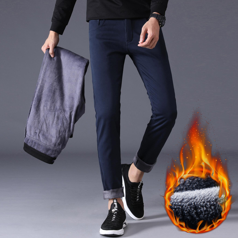 4 Color Winter Men Warm Casual Pants 2020 New Classic Style Stretch Slim Fit Business Fashion Thick Trousers Male Brand Clothes