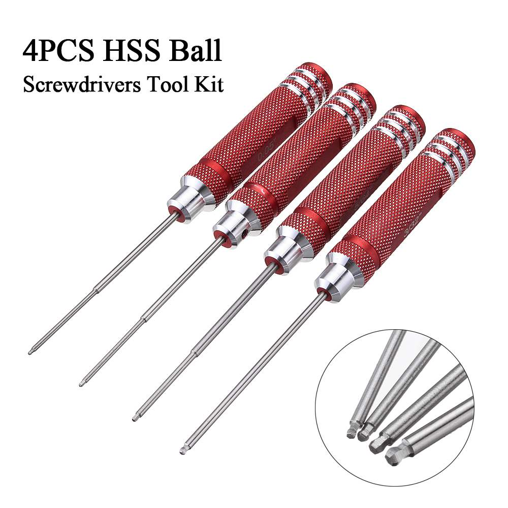 Drillpro 4pcs HSS Ball Screwdrivers Tool Kit 0.05 1/16 3/32 5/64 Inch Screwdriver Repair Tool High Speed Steel Hand Tools