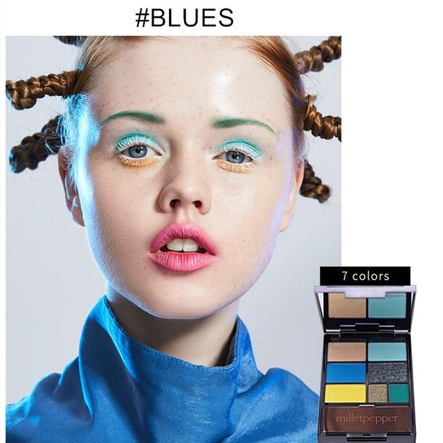 milletpepper BLUES 7 Colors Eyeshadow Palette Charming Pigment Shimmer Glitter Powder Long Lasting Makeup Eye Shadow Matte 2