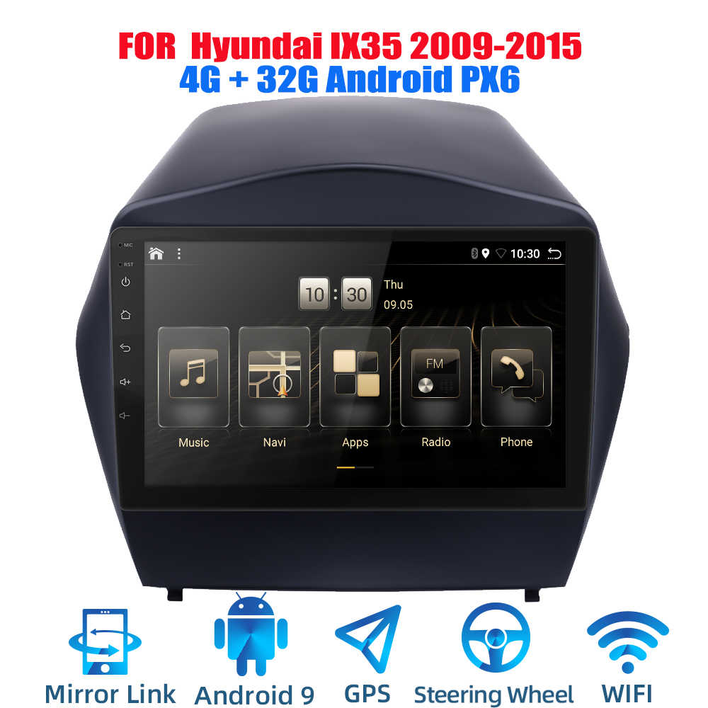 2DIN Android 9.0 Ouad Core PX6 Radio Stereo Cho Hyundai IX35 2009-2015 GPS NAVI Âm Thanh Video wifi BT HDMI DAB +