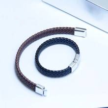 Fashion 1PC Bracelet Stainless Steel Magnetic Clasp Bangles Gifts Bracelets PU Leather Braided