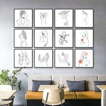 Laeacco абстрактные леди линия рисунок домашний декор Скандинавская